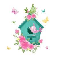 Cartoon vogelhuisje met vogels en rozen voor Valentijnsdag