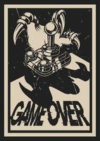 Vintage stijl gaming poster met dinosauruspoot vector