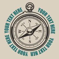 Vintage illustratie van een kompas vector