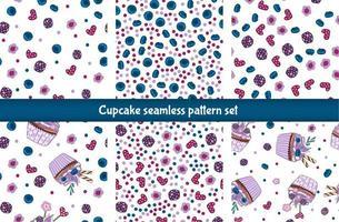cupcake naadloze patroon set vector