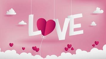 Papier ambachtelijke van liefde alfabetten over wolken vector