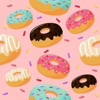schattig zoet donuts naadloos patroon vector