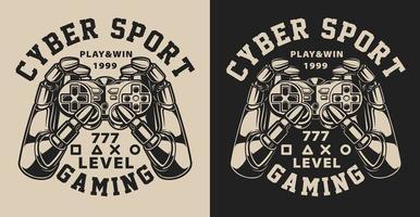Set van illustraties met joystick in vintage stijl vector