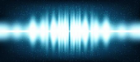 Lichte digitale geluidsgolf op technische achtergrond.