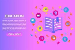 Onderwijs plat kleurrijke bestemmingspagina open boek met set elementen vector
