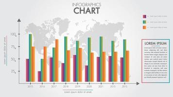 Zakelijke infographics ontwerp pijl grafiek en globaal voor presentatie