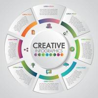 Bedrijfspresentatieconcept met 8 stappenzaken en cirkelvormig ontwerp