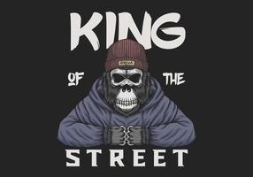 De gorilla van de schedel koning van de straatillustratie vector