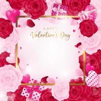 Bovenaanzicht liefde Valentijnsdag vierkante sjabloon vector