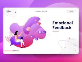 Emotionele feedback op bestemmingspagina vector