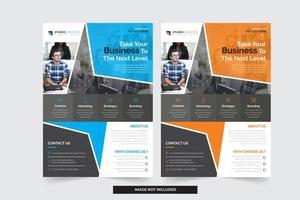 Blauwe en oranje zakelijke flyersjablonen met modern hoekig ontwerp