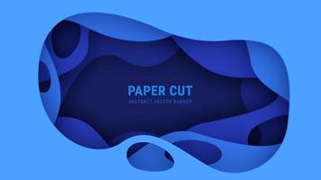 3D Abstract Blauw Papier Gesneden Vector Banner