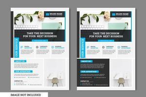 Blauw, grijs en zwart vierkant ontwerp Zakelijke sjabloon folder