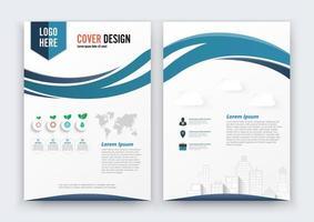 Brochure Flyer Curve-ontwerp, blauwe voorpagina en achterpagina vector