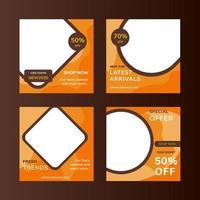 Oranje en bruine geometrische verkoop sociale media na verzameling