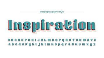 Vintage afgeronde glanzende groene artistieke lettertype vector