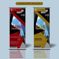 rode en gele corporate roll-up sjabloon voor spandoek met geometrische schuine ontwerp vector