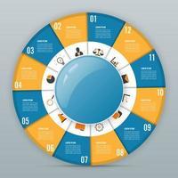 Cirkel grafiek infographic sjabloon met 12 opties vector