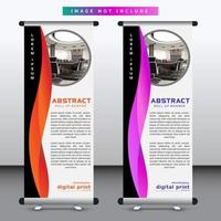 verticaal oprolbaar bannerontwerp met golvend rood en paars ontwerp vector