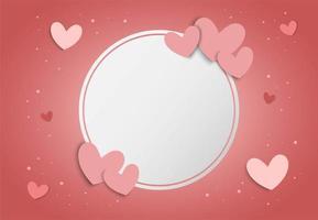 De achtergrond van de valentijnskaartendag met roze harten en leeg wit cirkelkader vector