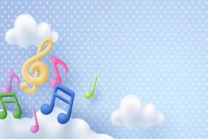 Naaldvilten van muzieknota en wolk in de hemel op gestippelde achtergrond vector