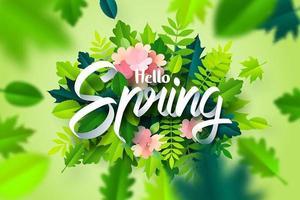 Papierkunst van Hello Spring-kalligrafie op bladeren en bloemen in en onscherp