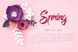 Papier kunst van bloem en lente kalligrafie belettering vector