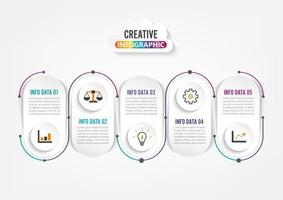 Vijf stappen infographics. Sjabloon voor brochure, bedrijf, webdesign.