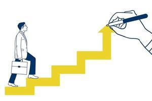 Bedrijfs mens die op pijl naar boven gaat die met de hand worden getrokken vector