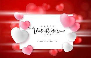 Roze Valentijnsdag achtergrond met 3d harten op rood
