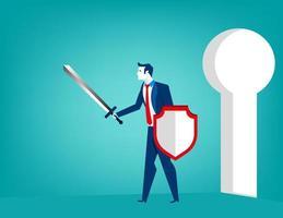 Bedrijfsmens met zwaard en schild verdedigend sleutelgat vector