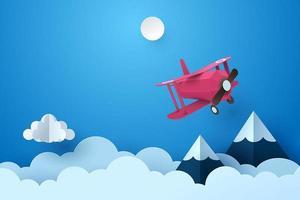 Papierkunst van vliegtuig die door wolk bij nacht vliegen