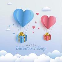 Valentijnsdag kaart met papier gesneden stijl hete lucht hart ballon dragende geschenken vector