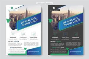 Blauwe en groene driehoek en hoek ontwerpsjabloon zakelijke folder