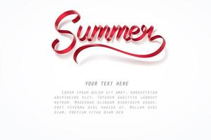 Rood lint van zomer kalligrafie hand belettering