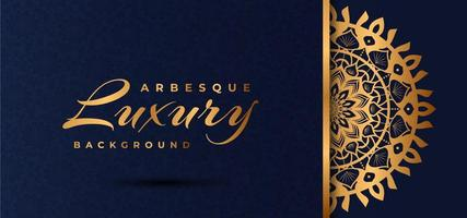 Gouden luxe mandala-ontwerp met blauw arabesk patroon
