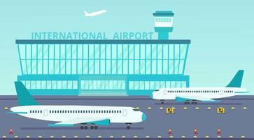 Vliegtuig komt naar de luchthaven vector