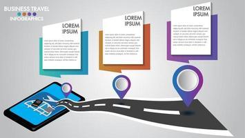 Infographic ontwerp 3d mobiele tablet met concept van navigatie op de weg vector