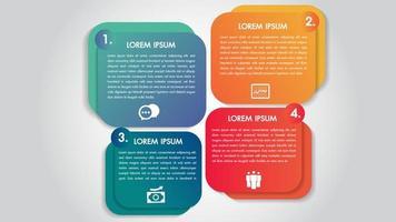Zakelijke infographics 4 stappen opties ontwerpsjabloon