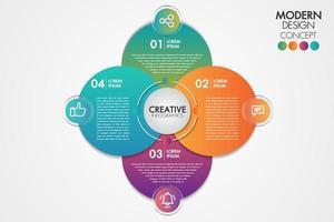 Zakelijke infographics element. Cirkel grafieksjabloon grafiek met 4 stappen