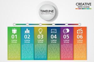 Zakelijke infographics sjabloon. Presentatie met 6 stappen of opties