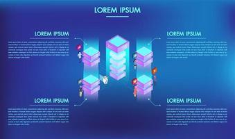 Concept van big data-technologie verwerking met 4 opties of stappen infographics