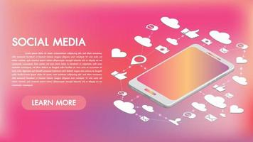 Social media apps op een smartphone 3d ontwerp vector