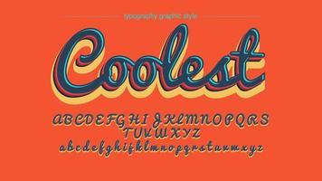 Retro kleurrijke handgeschreven artistieke lettertype vector
