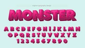 Roze 3D Cartoon Comics artistiek lettertype vector