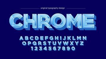 Blauw chroom metallic vetgedrukt hoofdlettertype