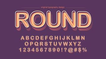 Oranje 3D vetgedrukte afgeronde schreefloze typografie