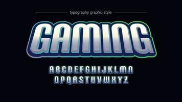 Vet zilveren neon sport artistieke lettertype vector