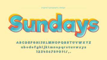 Vet kleurrijke blauwe 3D grappige artistieke lettertype vector