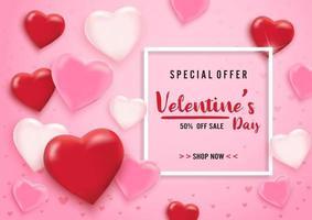 De verkoopachtergrond van de valentijnskaartendag met ballonharten en wit kader